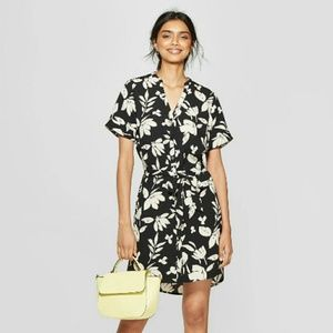 Tropical Pattern T-Shirt Dress with Sash